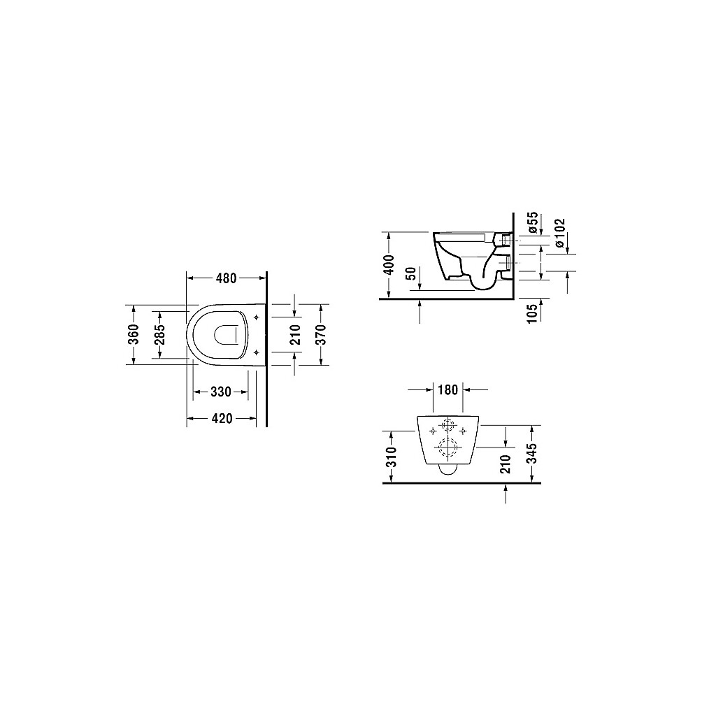Duravit Me By Starck Compact Toalett 360x480 mm. Rimless, Vit med ...