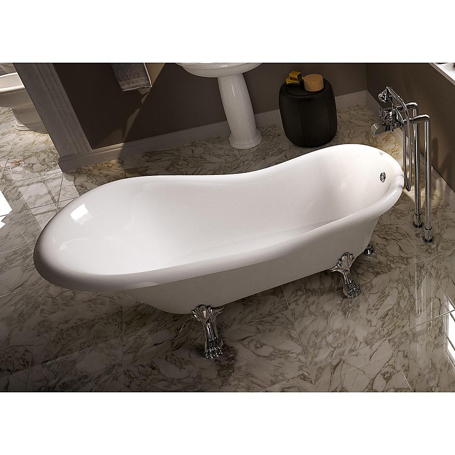 Flaminia Evergreen Frittstående badekar 1700x800 mm Crystal Tec Hvit/Krom