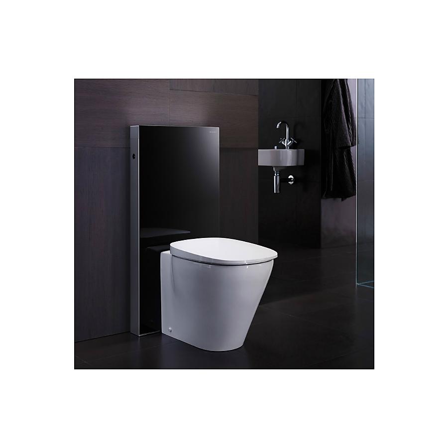 Geberit Monolith Plus Sisterne 114 cm Gulvstående toalett m/lys Hvitt glass
