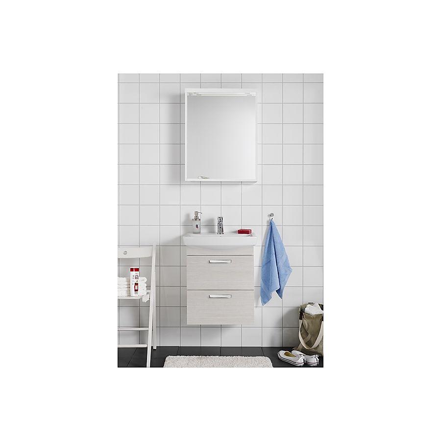 Hafa Life 600 Komplett Møbelpakke 600 mm m/speil og servant Hvit eik