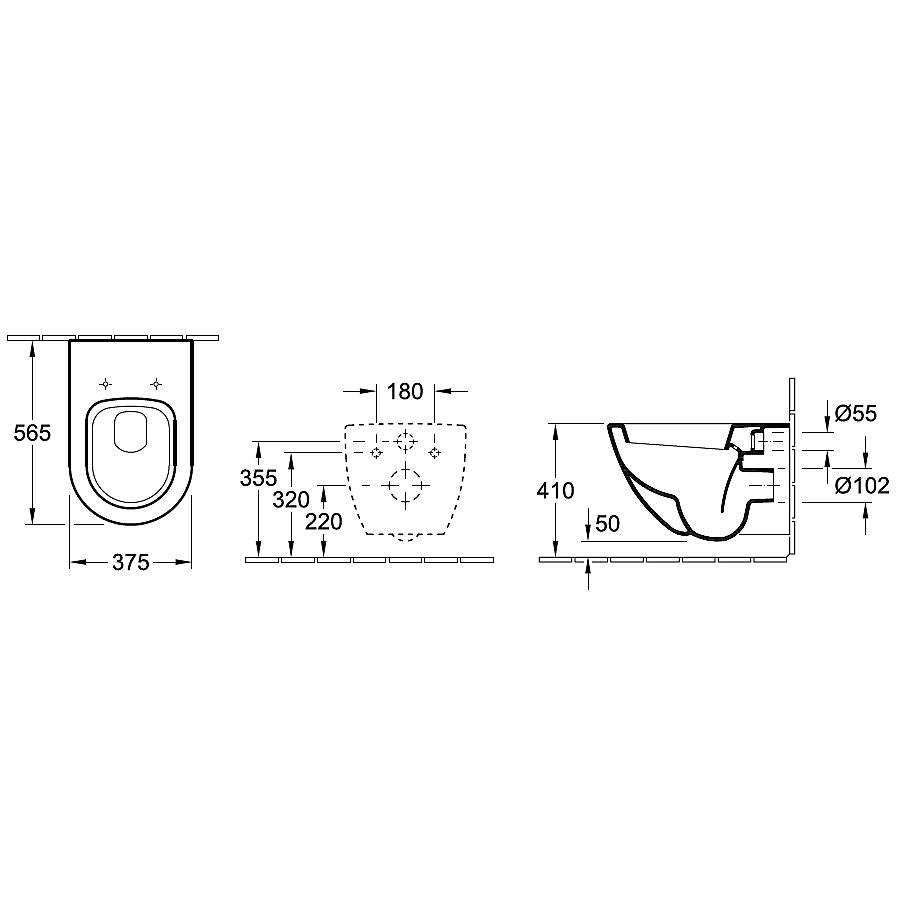 V&B Subway, Vägghängd toalett 370x560 mm, Alpinvit, Ceramic Plus ...
