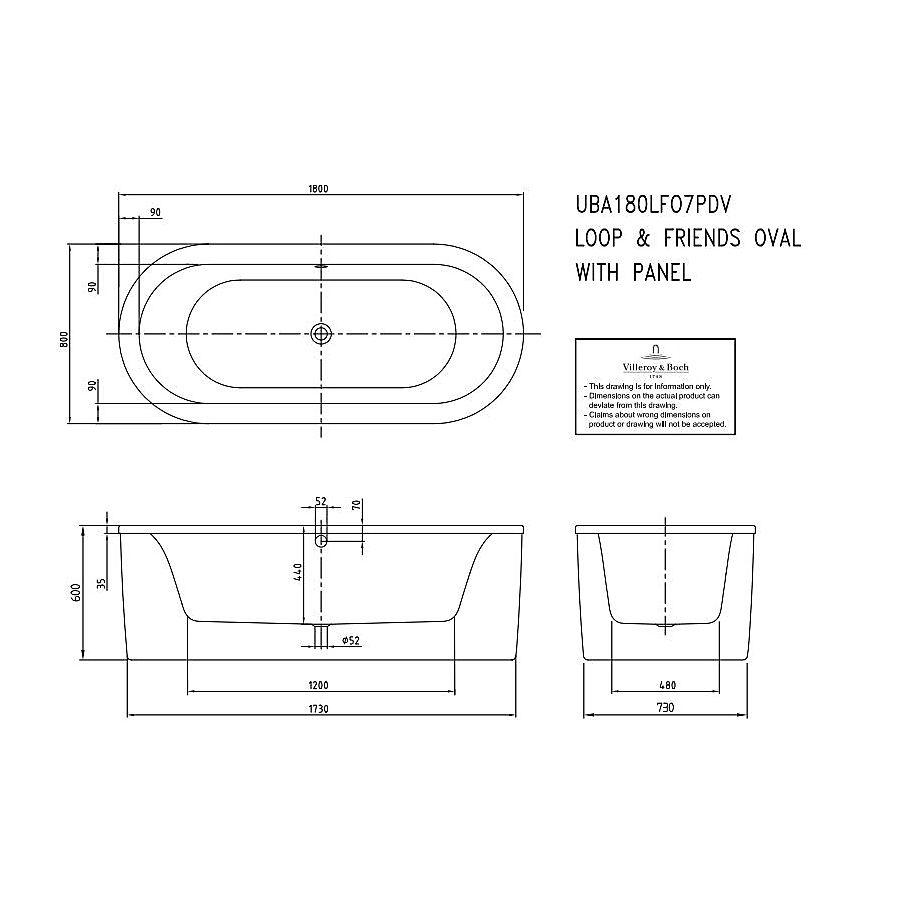 Badkar badkar mått : V&B Aveo, FristÃ¥ende badkar 1800x800 mm, Tillverkad i Quaryl ...
