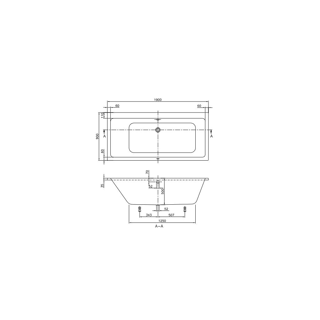 Badkar badkar mått : V&B Subway, Badkar för inbyggnad 1900x900 mm - vvsklippet.se