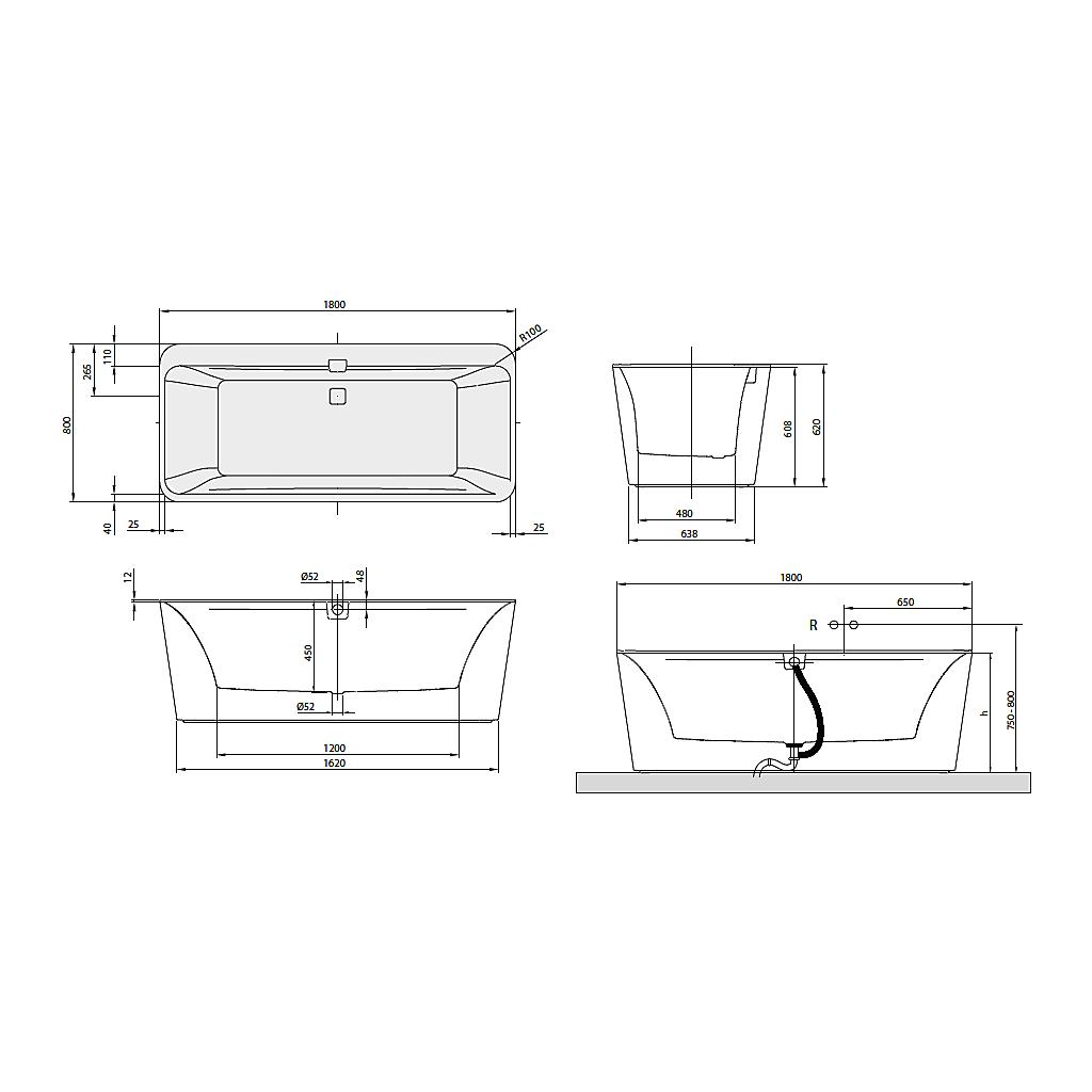 V&B Squaro Edge12, FristÃ¥ende badkar 1800x800 mm. Med vit panel ... : badkar mått : Badkar