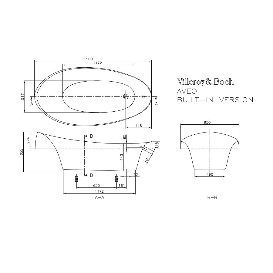 Badkar badkar mått : V&B Aveo, Badkar för inbyggnad 1900x950 mm, Tilverkad i Quaryl ...