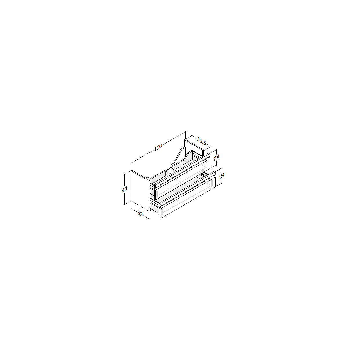 K40122LE   Dansani Zaro Tvättställskåp m/2 lådor 1000x350 mm, Svart Gummi, m/ LED