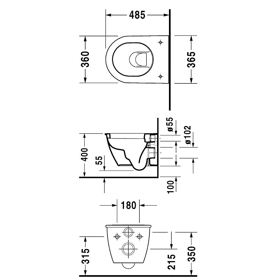 2549090000 Duravit  Duravit Darling New Compact Toalett 360x485 mm,väggmonterad, Vit