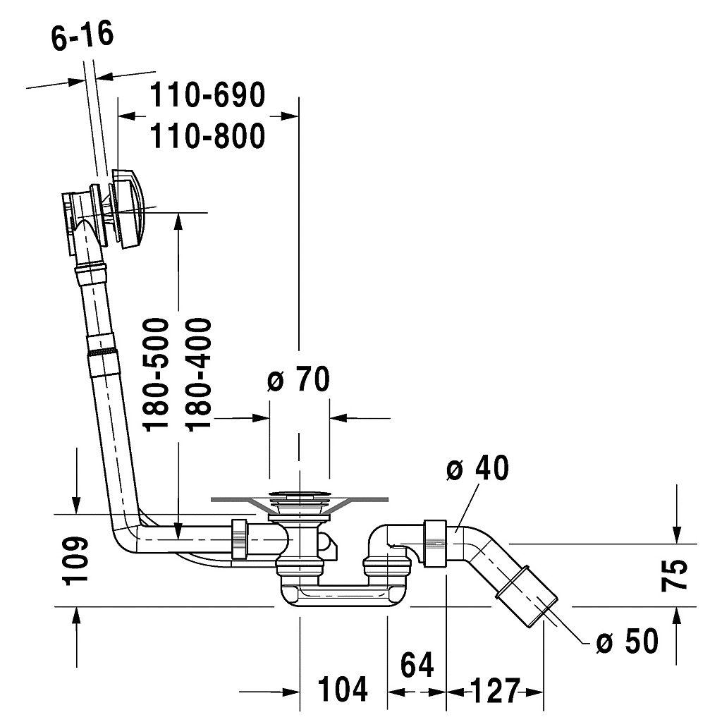 790227000001000 Duravit  Duravit D-Code Bräddavloppsset. För avlopp i mitten.