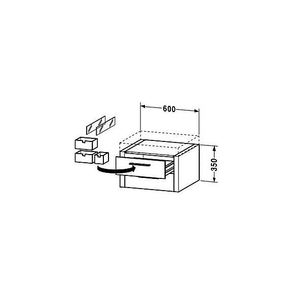 #2F927606767   Duravit 2nd Floor Möbelpaket 1400 mm, m/underskåp, Rosenträ