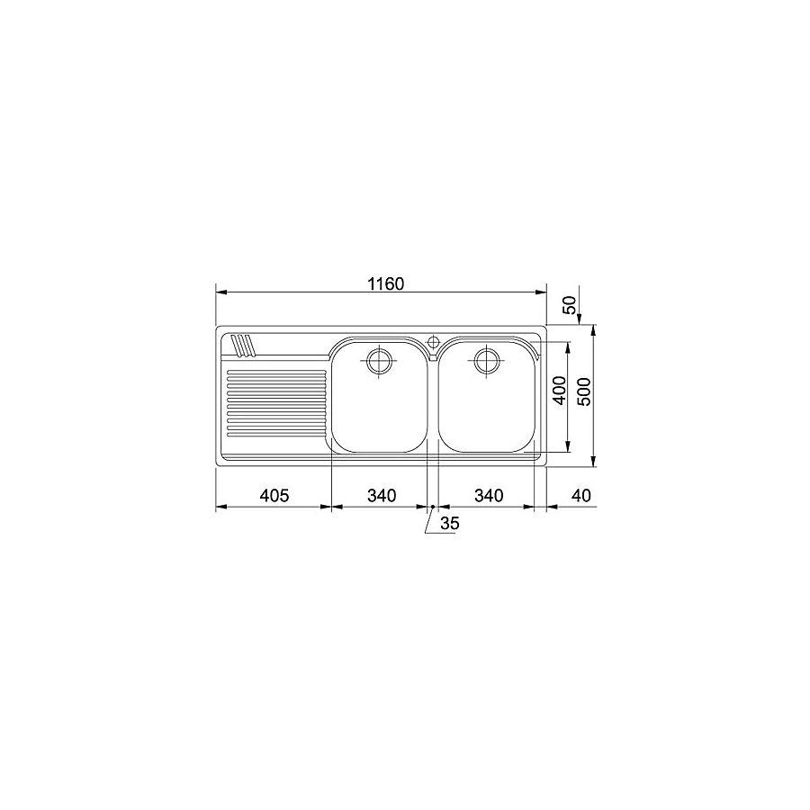 101.0220.491 Franke  Franke Armonia AMX 621 V diskbänk 1160x500 mm, För inf/underlim/undermont