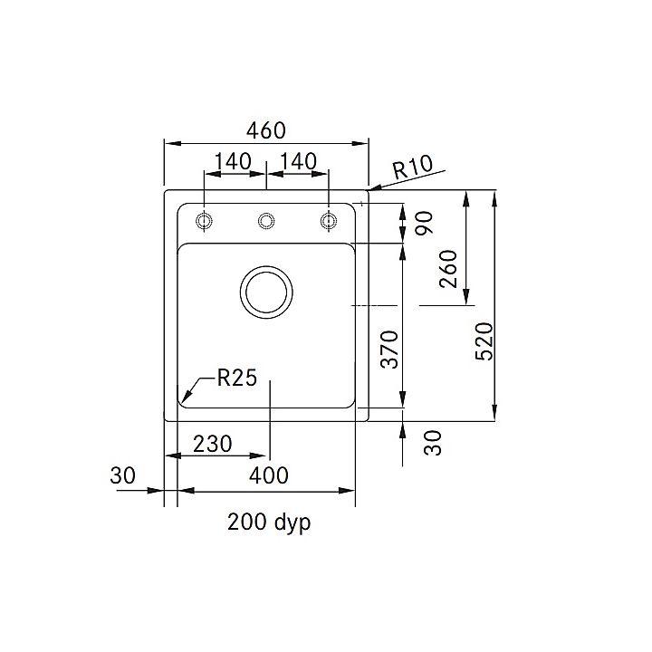 114.0266.007 Franke 135.0266.007 Franke Mythos MTG 610-45 diskbänk 460x520 mm, Graphite