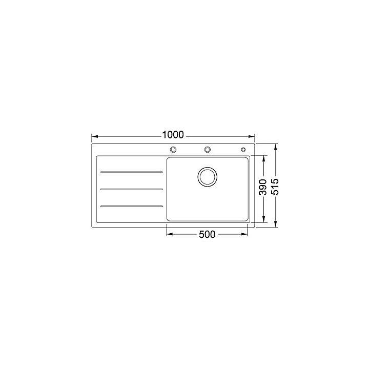 114.0277.596 Franke  Franke Mythos Fusion MTF 611 diskbänk 1000x515 mm, Stor låda höger