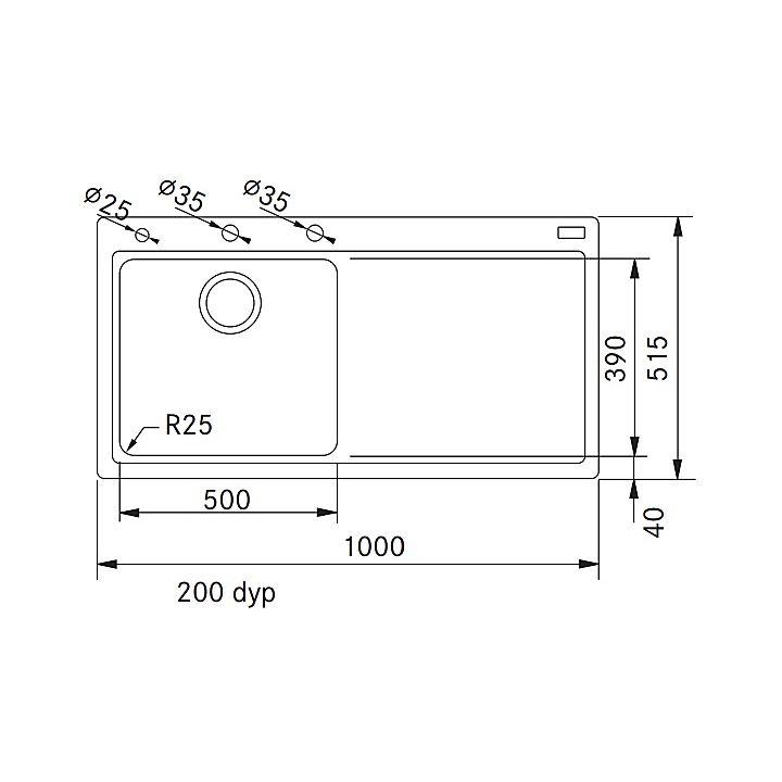 114.0324.107 Franke  Franke Mythos MTG 611 V diskbänk 1000x515 mm, Stor låda vänster, Graphite