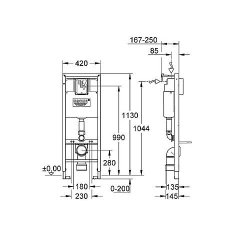 6192009 Grohe 38711001 Grohe Rapid SL Cistern, 113 cm Spolning framifrån, Smal modell