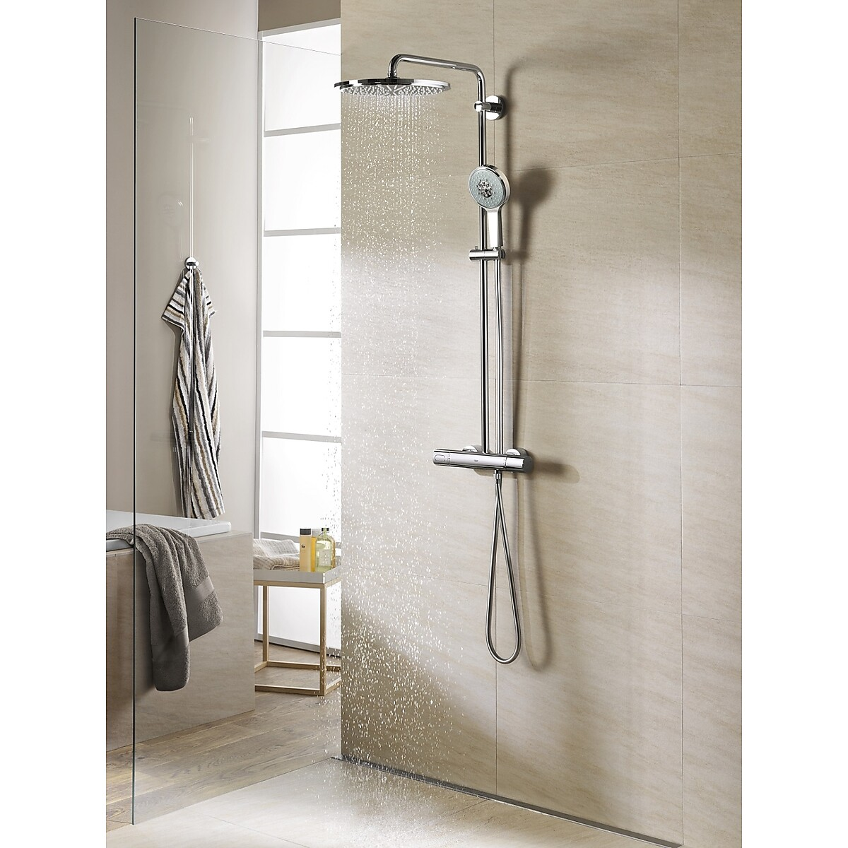 grohe rainshower 310 dusjsystem 310 mm krom. Black Bedroom Furniture Sets. Home Design Ideas