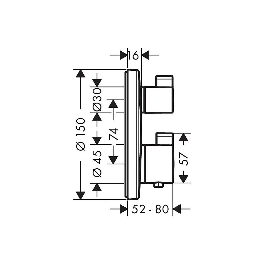 hg ecostat s termostatarmatur med avsperring krom. Black Bedroom Furniture Sets. Home Design Ideas