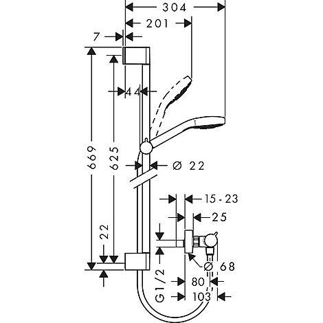 hg ecostat comfort termostat duschpaket 650 mm vit krom. Black Bedroom Furniture Sets. Home Design Ideas
