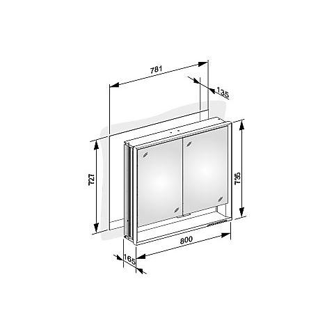 keuco royal lumos speilskap 800x735 mm for innfelling i vegg. Black Bedroom Furniture Sets. Home Design Ideas