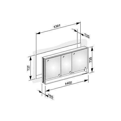 keuco royal lumos speilskap 1400x735 mm for innfelling i vegg. Black Bedroom Furniture Sets. Home Design Ideas