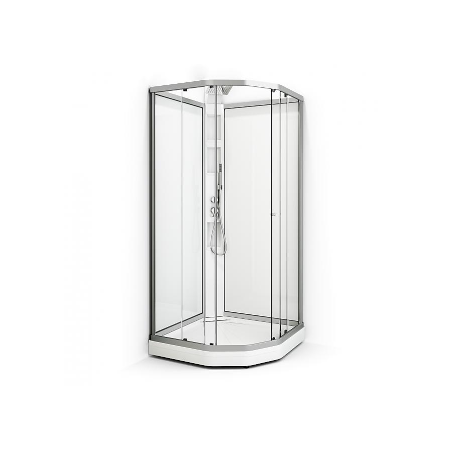 Macro Design Macro Flow Semi Lux Dusjkabinett 90x90 Cm, Hvit Søyle, Alu Matt/klar
