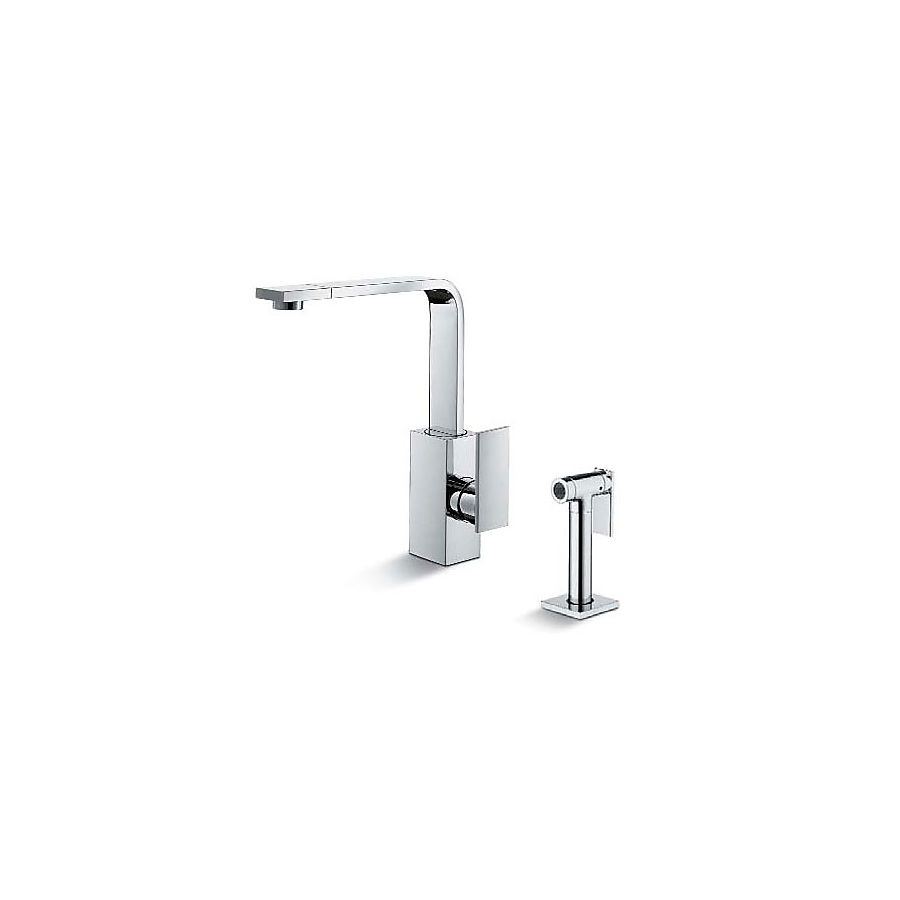 Newform D-rect Kjøkkenarmatur 258 mm med sidedusj Krom