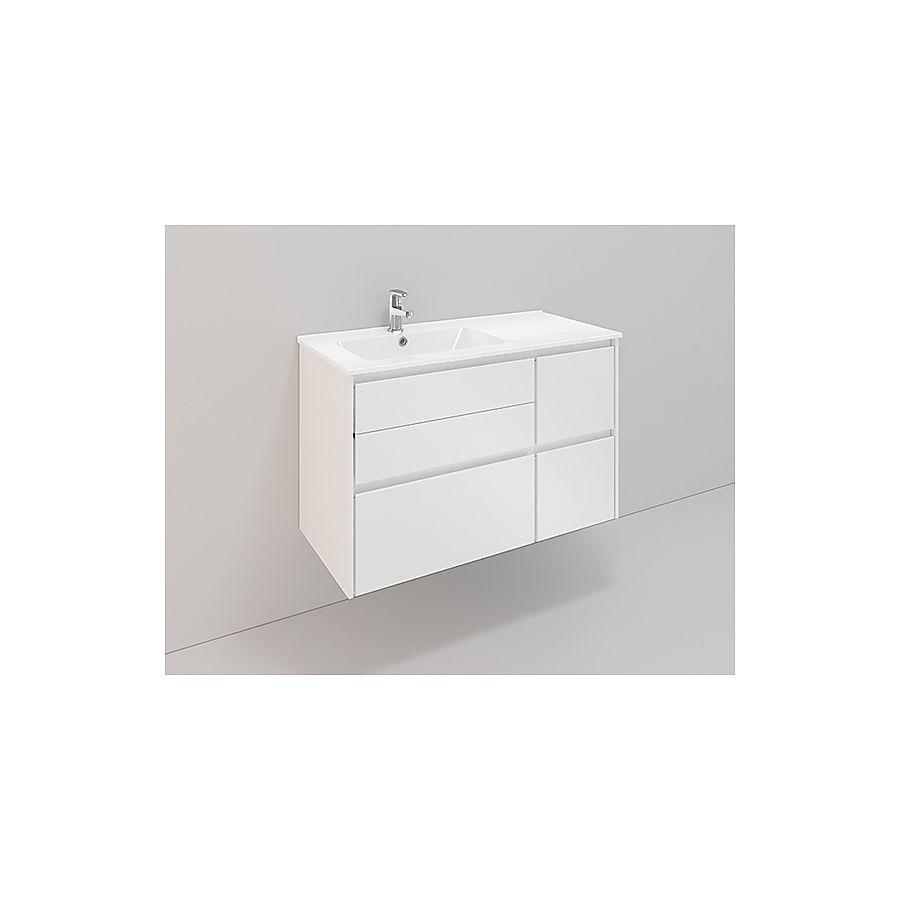Noro Lifestyle 900 møbelpakke 900 mm m/lav servant venstre Hvit Matt