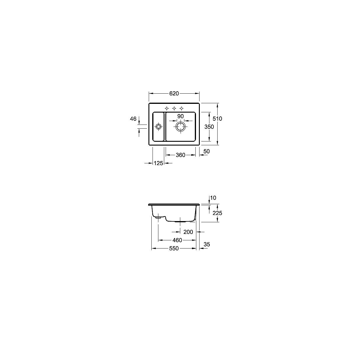 678002R1 Villeroy & Boch  V&B Subway 60 XM diskbänk i porslin 620x510 mm, Alpinvit, C+