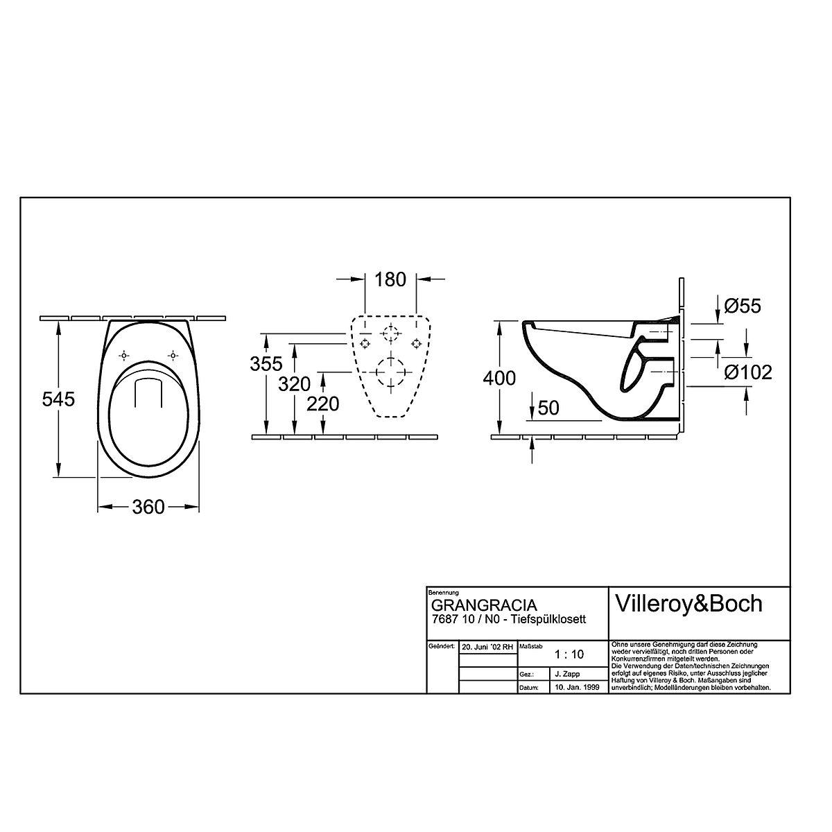 768710R1 Villeroy & Boch 7K8710R1 V&B Grangracia Vägghängd toalett 360x545 mm. Ceramic Plus