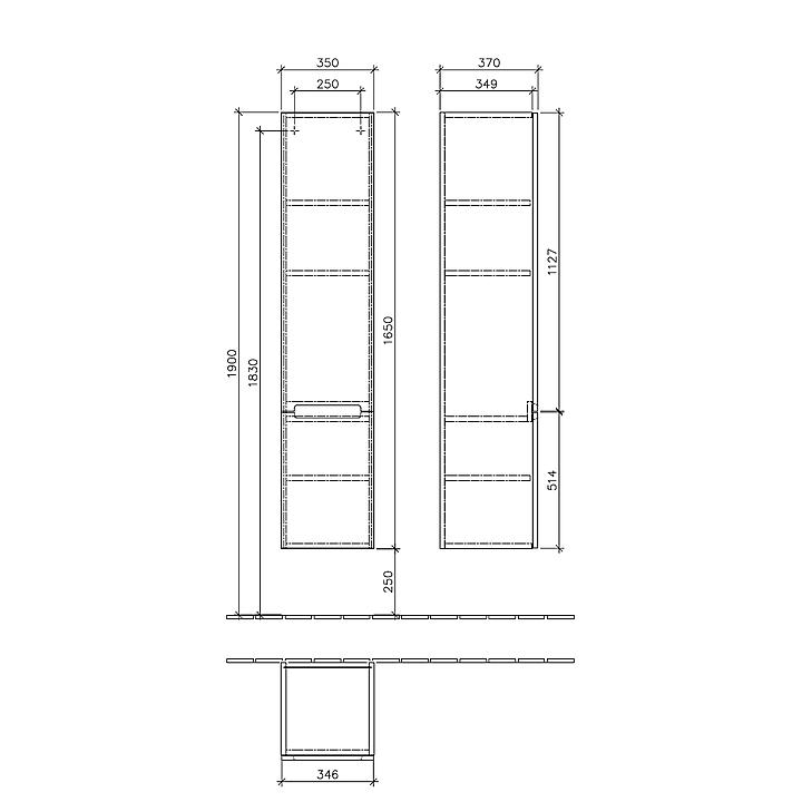 A71000FP Villeroy & Boch  V&B Subway 2.0 Högskåp m/2 dörrar 1650x350 mm, höger, Grå Högblank