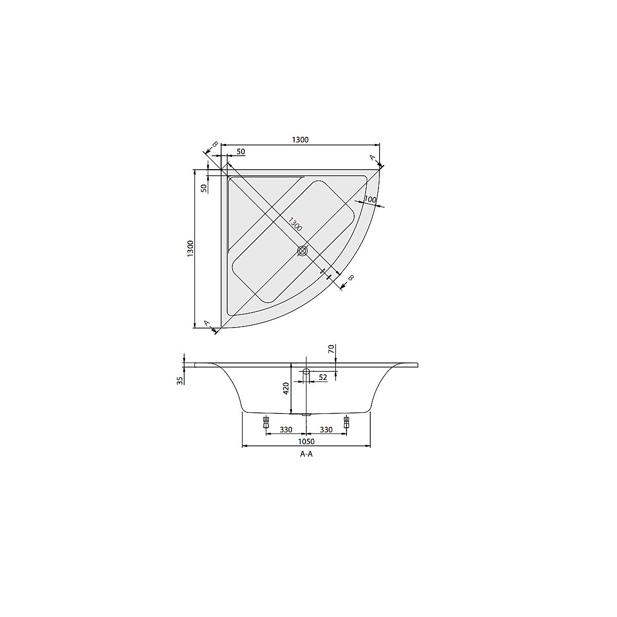 UCC130SUB3B1V01 Villeroy & Boch  V&B Subway Badekar for innbygging Alpinhvit, 1600x700 mm