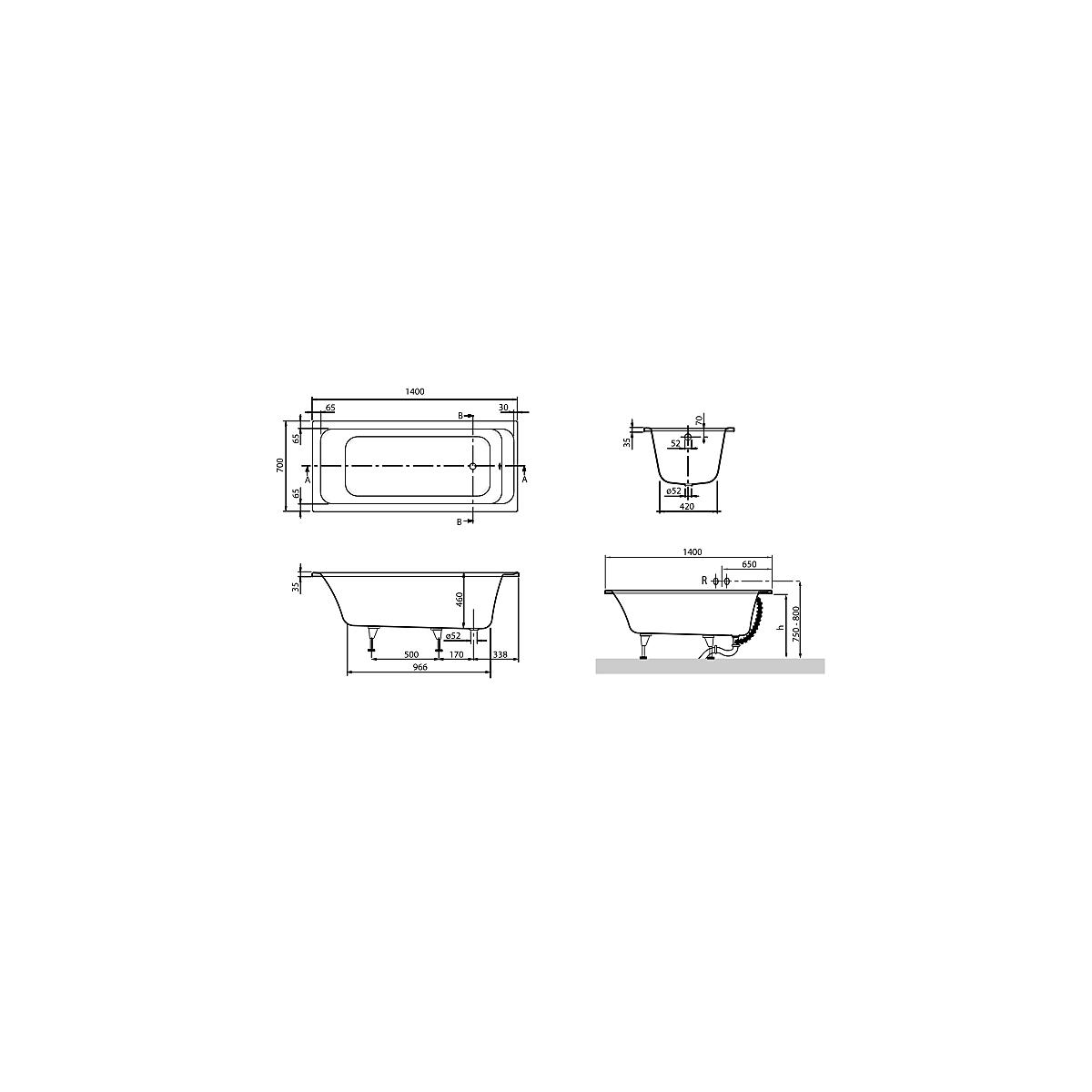 v b omnia architectura badekar f innbyg 1400x700 mm. Black Bedroom Furniture Sets. Home Design Ideas