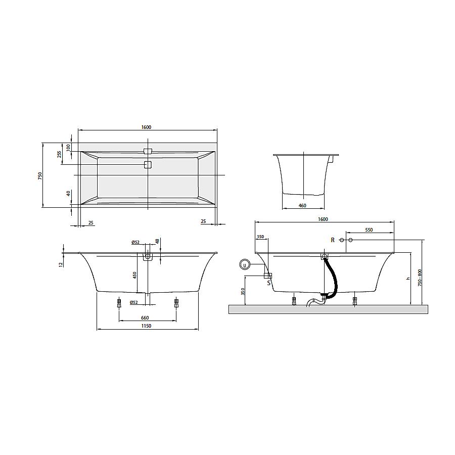 UBQ160SQE2DV-01 Villeroy & Boch  V&B Squaro Edge12 badkar för inbyggnad 1600x750 mm, Produsert i Quaryl