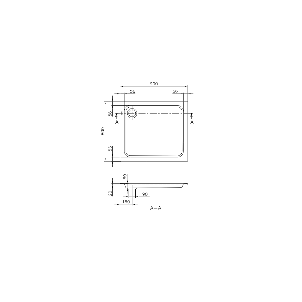 UDQ9806FUT2V-01 Villeroy & Boch  V&B Futurion Duschkar 900x800 mm, Producerad i Quaryl